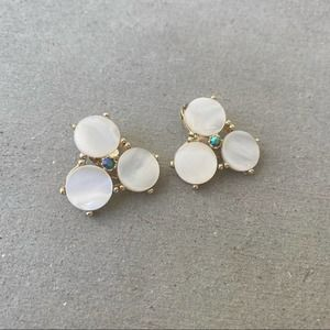 Vintage Cream Floral Shell Clip On Earrings